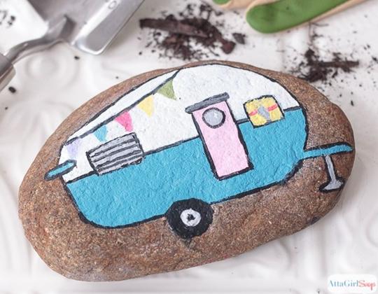 Vintage Camper Painted Rocks - Easy Popsicle Crafts for Kids