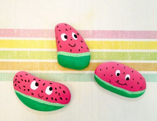 Watermelon Painted Rocks Easy Popsicle Crafts for Kids