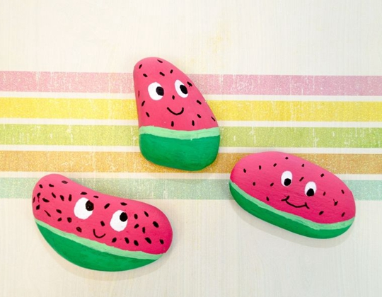 Watermelon Painted Rocks - Easy Popsicle Crafts for Kids