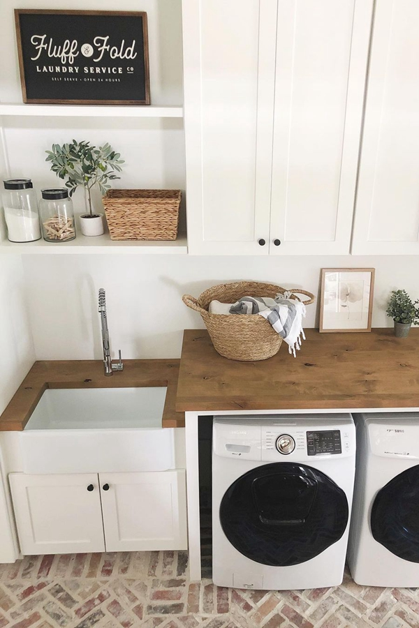 White Cabinet Shelf Combo - Clever Laundry Room Shelving Ideas fo Small Space