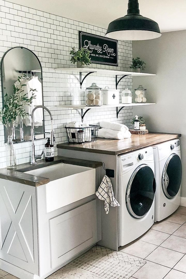White Laundry Shelves - Clever Laundry Room Shelving Ideas fo Small Space