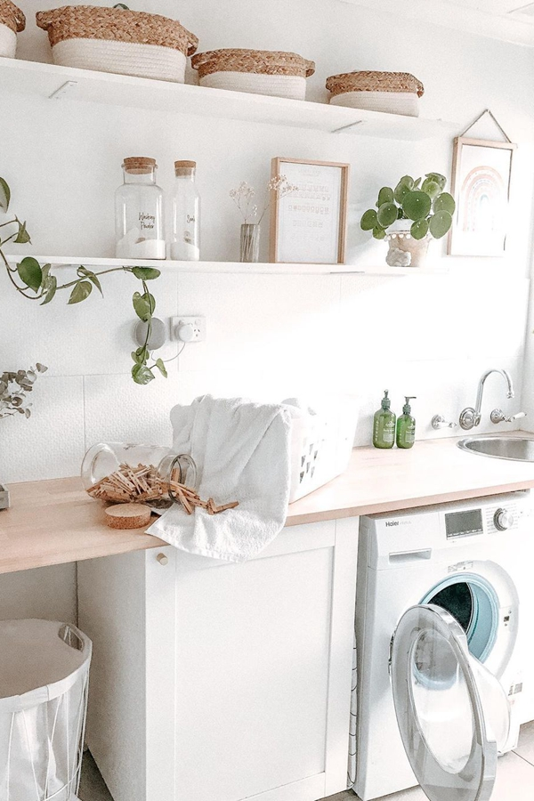 White Washed Laundry Shelves - Clever Laundry Room Shelving Ideas fo Small Space
