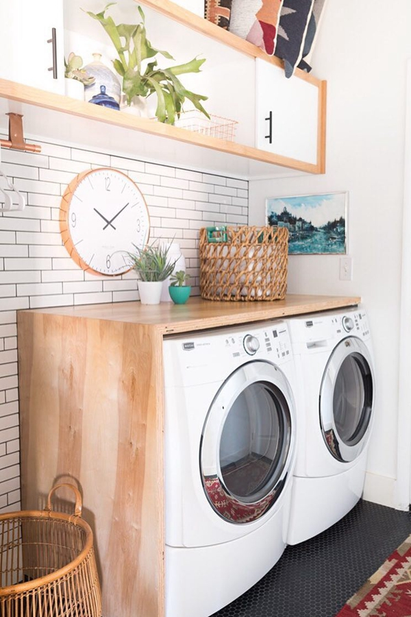 Wood-Framed Laundry Shelves - Clever Laundry Room Shelving Ideas fo Small Space