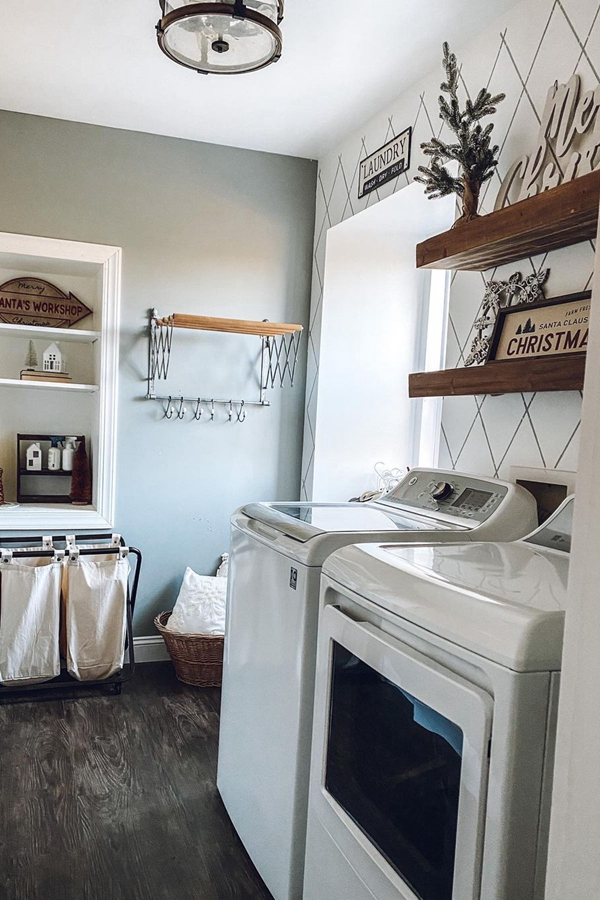 Wooden Block Laundry Shelves - Clever Laundry Room Shelving Ideas fo Small Space