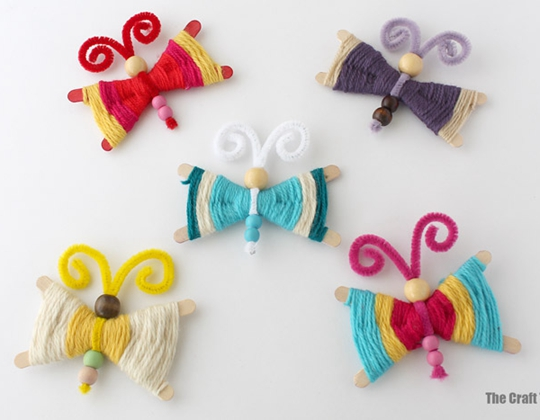 Woven Craft Stick Butterfly - Easy Popsicle Crafts for Kids
