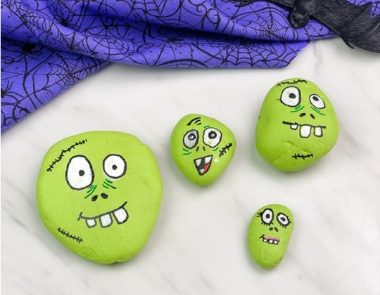 Zombie Halloween Painted Rocks - Easy Popsicle Crafts for Kids