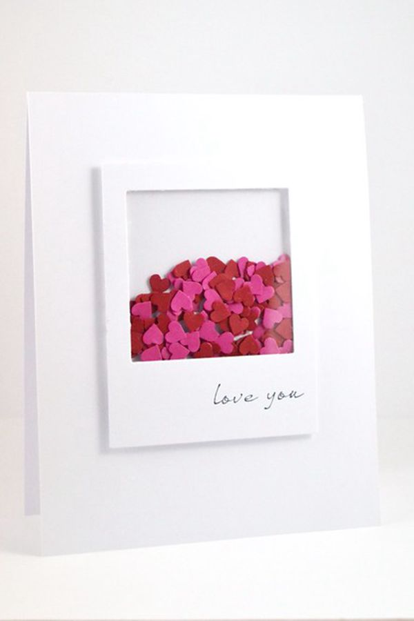 Border Punch Scraps Shaker Card - DIY Valentine's Day Card Ideas
