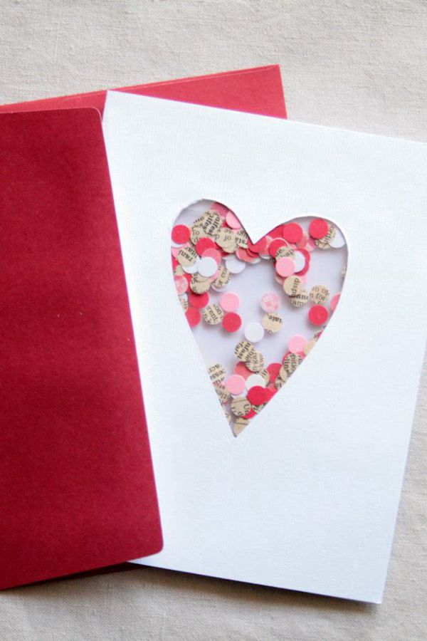 DIY Confetti Valentine's Day Card - DIY Valentine's Day Card Ideas