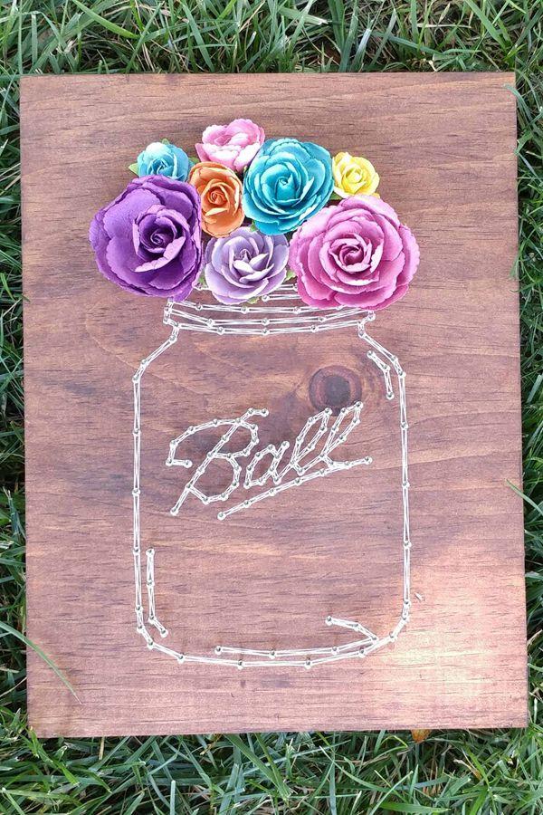 DIY Mason Jar String Art Tutorial - String Art Ideas