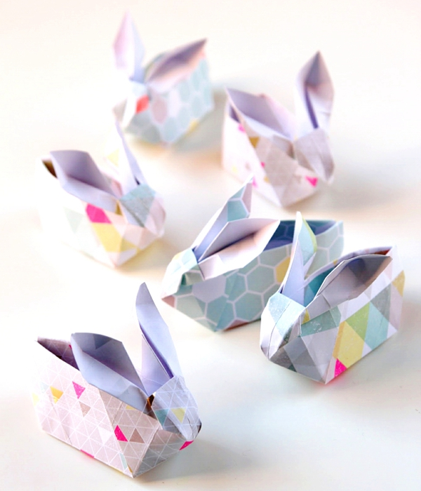 DIY Origami Easter Bunny Baskets - Toilet Paper Roll Crafts