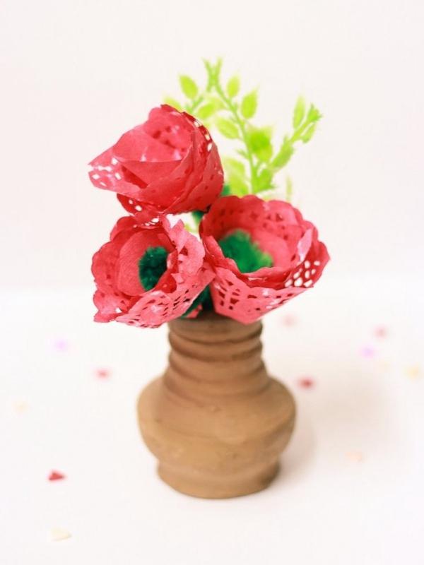 DIY Paper Doily Roses - DIY Paper Flowers Ideas