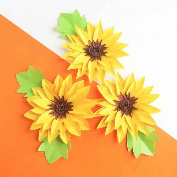 DIY Paper Sunflowers Kids Craft - DIY Paper Flowers Ideas