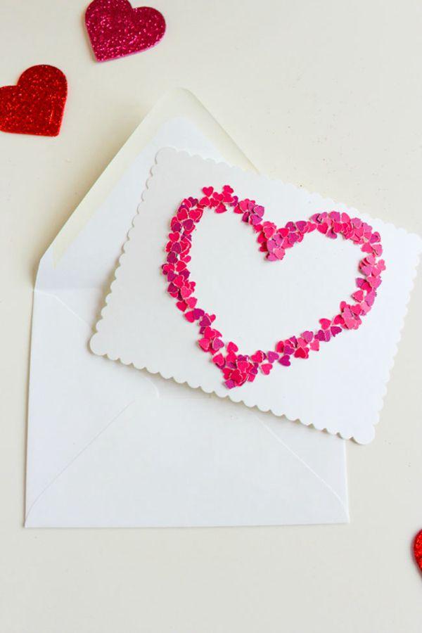 DIY Valentine's Day Confetti Heart - DIY Valentine's Day Card Ideas