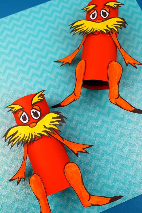 Dr. Seuss Lorax Toilet Paper Roll Craft - Toilet Paper Roll Crafts