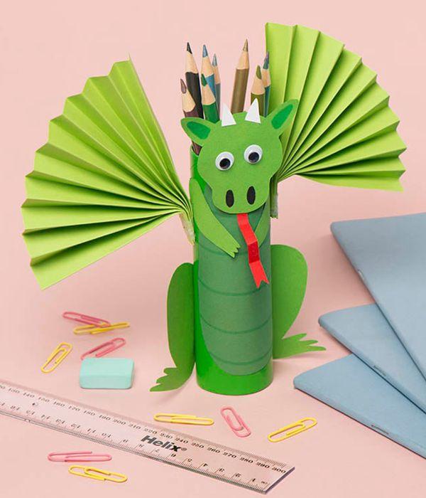 Dragon Pencil Pot - Toilet Paper Roll Crafts