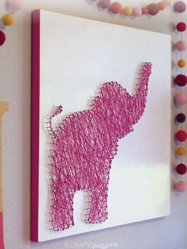 Elephant String Art - String Art Ideas