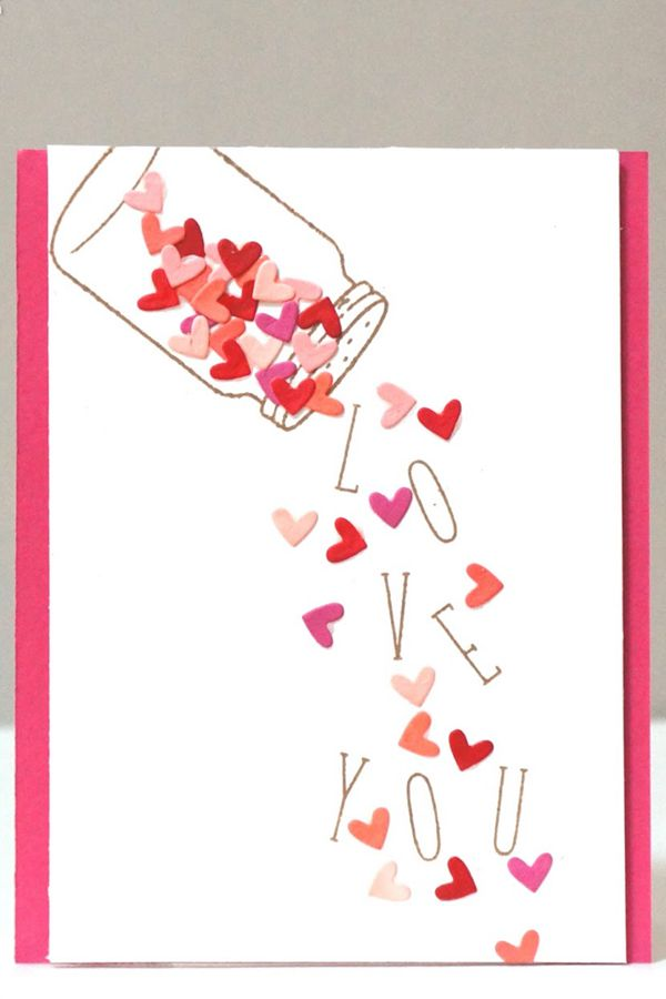 Falling Die Cut Hearts - DIY Valentine's Day Card Ideas