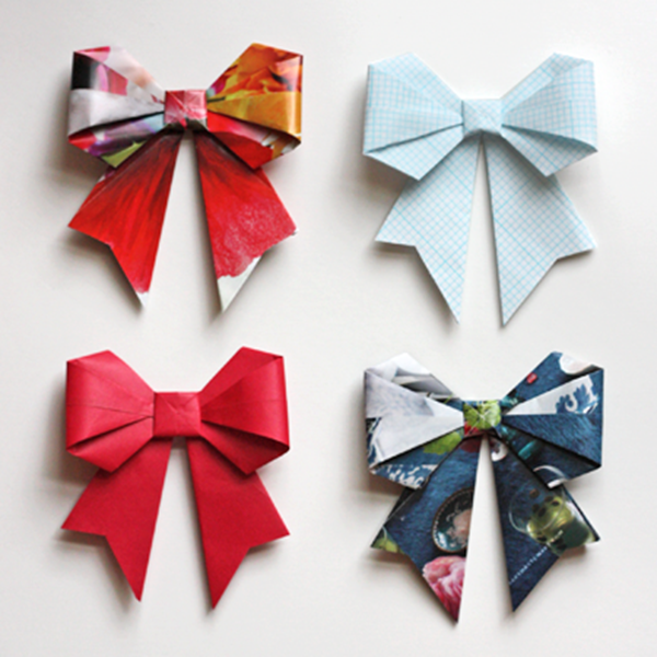 Origami Bows - Toilet Paper Roll Crafts