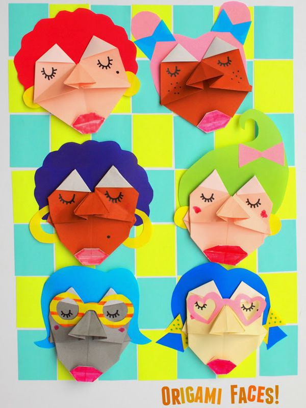 Origami Faces Kids Craft - Toilet Paper Roll Crafts