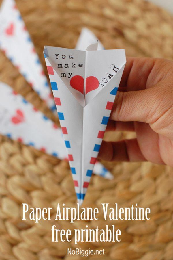 Paper Airplane Valentine's Day Free Printable Card - DIY Valentine's Day Card Ideas