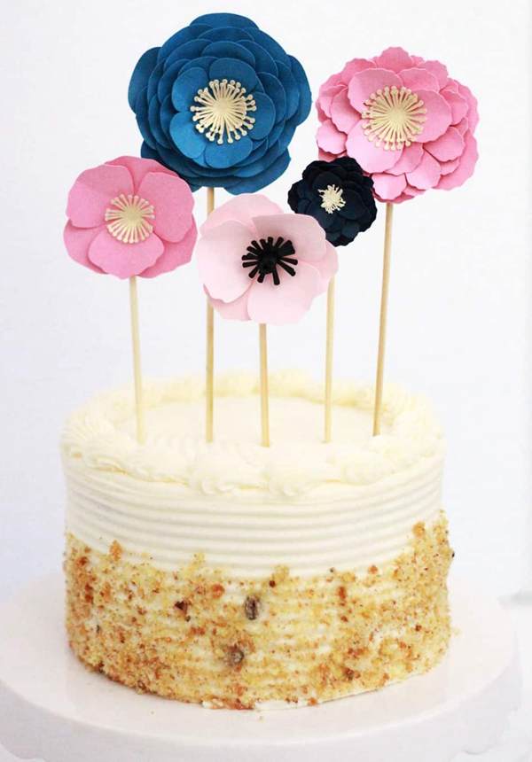 Paper Flower Cake Topper - DIY Paper Flowers Ideas
