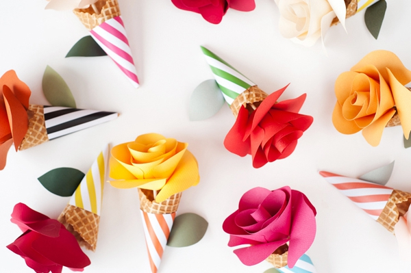 Paper Flower Cone Bouquet - DIY Paper Flowers Ideas