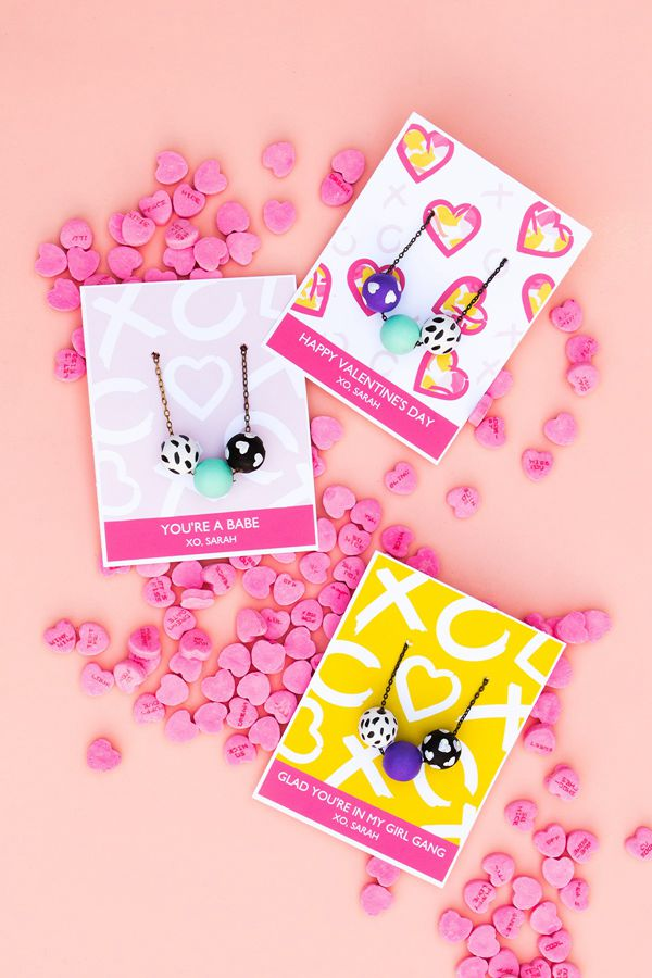 Printable Valentine's Day Necklace Cards - DIY Valentine's Day Card Ideas