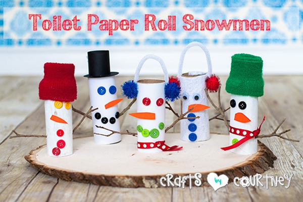 Toilet Paper Roll Snowmen - Toilet Paper Roll Crafts