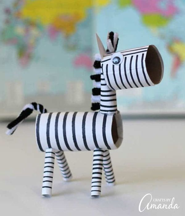 Toilet Roll Zebra - Toilet Paper Roll Crafts