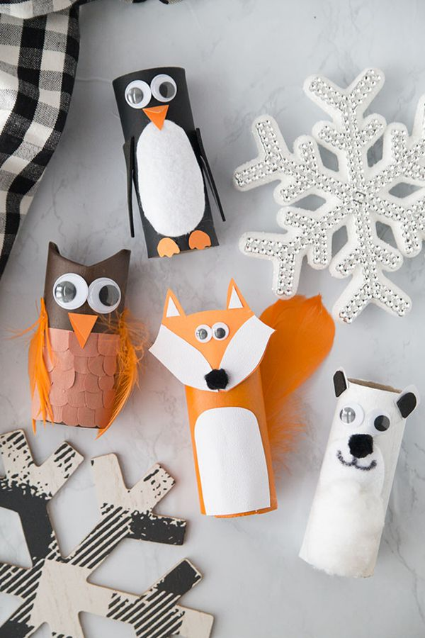 Winter Toilet Paper Roll Animals - Toilet Paper Roll Crafts