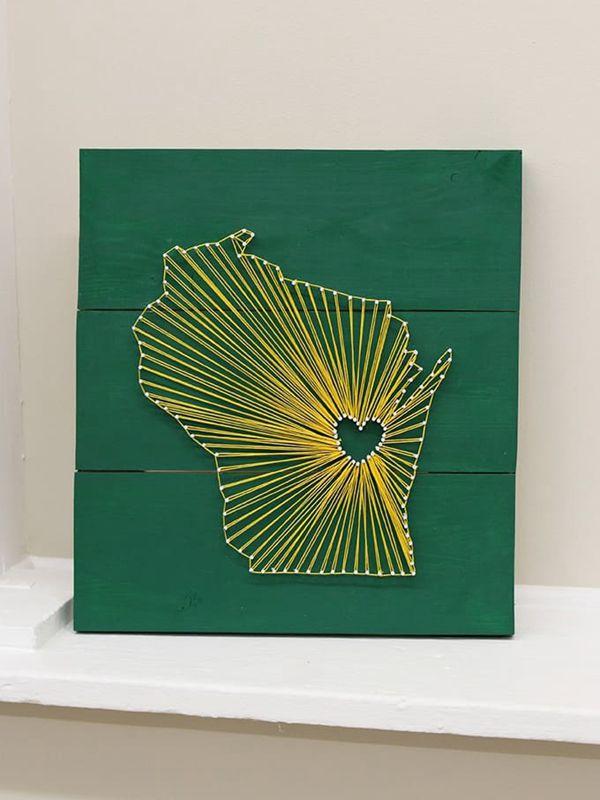 Wisconsin State String Art - String Art Ideas